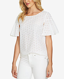 CeCe Cotton Eyelet Flutter-Sleeve Top