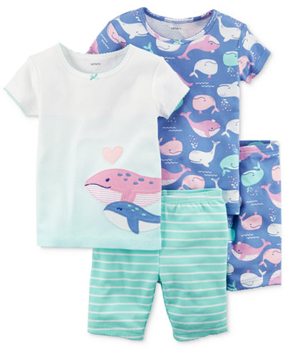 Carter's 4-Pc. Whale Printed Cotton Pajamas Set, Baby Girls