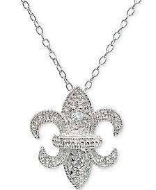 "Giani Bernini Cubic Zirconia Fleur-de-lis Pendant Necklace in Sterling Silver, 16"" + 2"" extender, Created for Macy's"