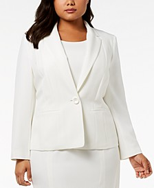 Plus Size One-Button Crepe Blazer