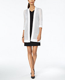 Kasper Ribbed Striped Cardigan