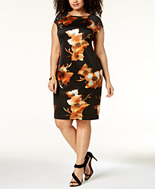 ECI Plus Size Floral-Print Cap-Sleeve Sheath Dress