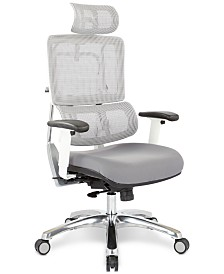 Adkin Office Chair with Headrest - White, Quick Ship