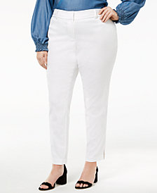 MICHAEL Michael Kors Plus Size Side-Slit Ankle Pants