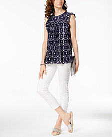 MICHAEL Michael Kors Eyelet Flounce Top & Studded Capri Jeans
