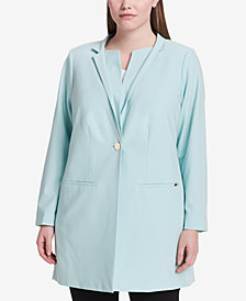 Calvin Klein Plus Size Star-Neck Topper Jacket