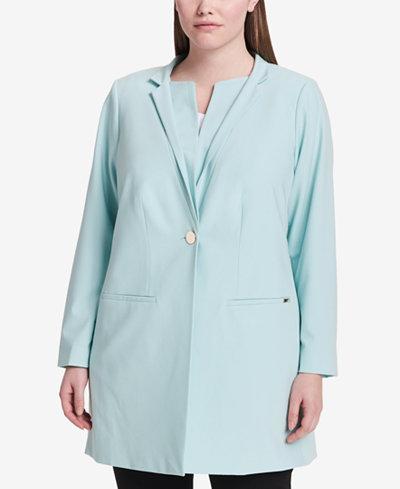 Calvin Klein Plus Size Star-Neck Topper Jacket