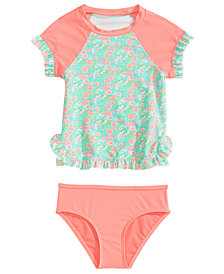 Summer Crush 2-Pc. Floral-Print Rash Guard Swimsuit, Little Girls
