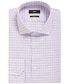 BOSS Men's Regular/Classic-Fit Checked Cotton Dress Shirt