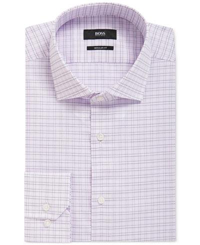 BOSS Men's Regular/Classic-Fit Checked Cotton Dress Shirt