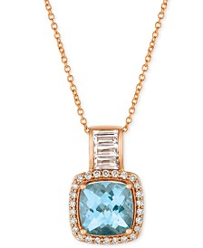 "Le Vian® Multi-Gemstone (2 ct. t.w.) & Diamond (1/5 ct. t.w.) 18"" Pendant Necklace in 14k Rose Gold"