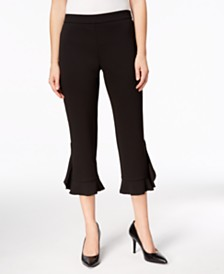 Alfani Petite Ruffle-Hem Pants, Created for Macy's