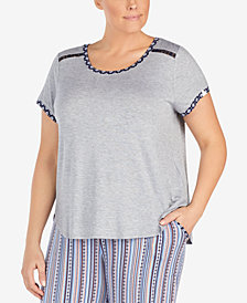Layla Plus Size Contrast-Trim Lace-Trim Pajama Top