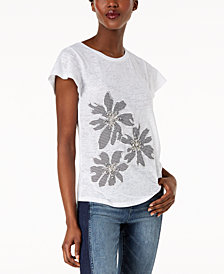 I.N.C. Embellished Mixed-Media Top, Created for Macy's