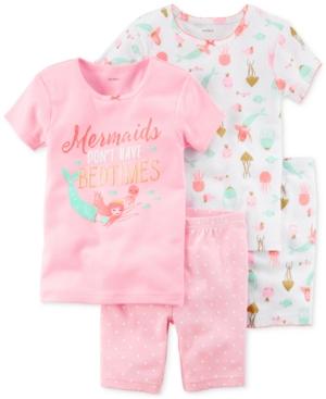 Carters 4Pc Mermaids Cotton Pajama Set Little Girls  Big Girls