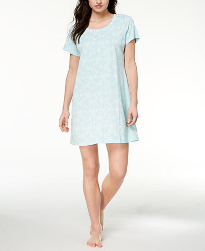 Charter Club Contrast-Print Cotton Sleepshirt, Created for Macy's