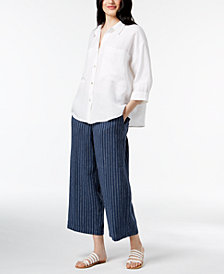 Eileen Fisher Classic Collared Shirt & Striped Pants