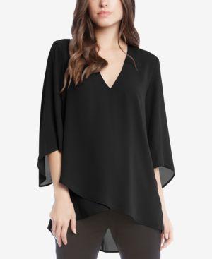 Crossover-Hem Tunic in Black