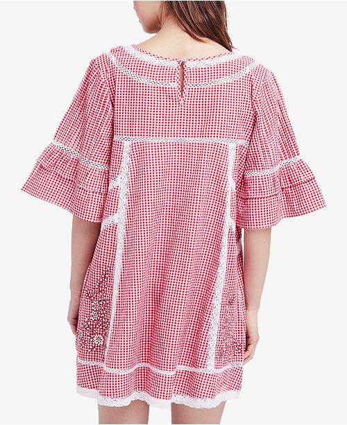 Sunny Free Day Dress Shift Embroidered People Red 0xqzZ