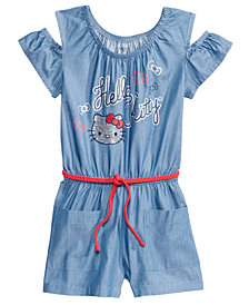 Hello Kitty Cold Shoulder Chambray Romper, Little Girls