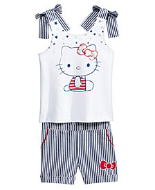 Hello Kitty 2-Pc. Graphic Top & Seersucker Shorts Set, Baby Girls