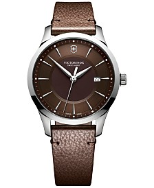 Victorinox Swiss Army Men's Swiss Alliance Brown Leather Strap Watch 40mm