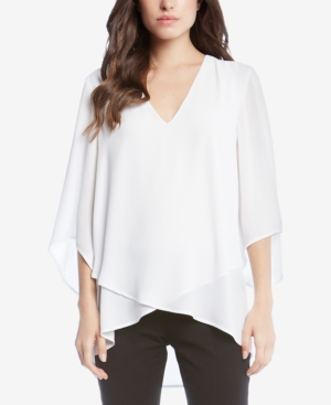 Karen Kane Three Quarter Sleeve Crossover Top In Off White