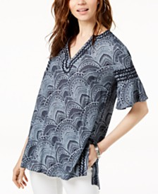 Love Scarlett Petite Printed Flare-Sleeve Top, Created for Macy's