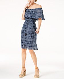 Love Scarlett Petite Printed Off-The-Shoulder Dress, Created for Macy's