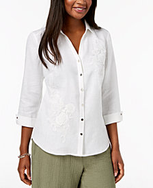 JM Collection Linen Crocheted-Appliqué Shirt, Created for Macy's