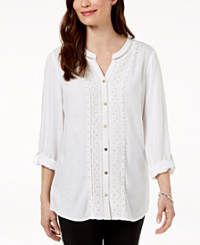 JM Collection Crochet-Trim Top, Created For Macy's