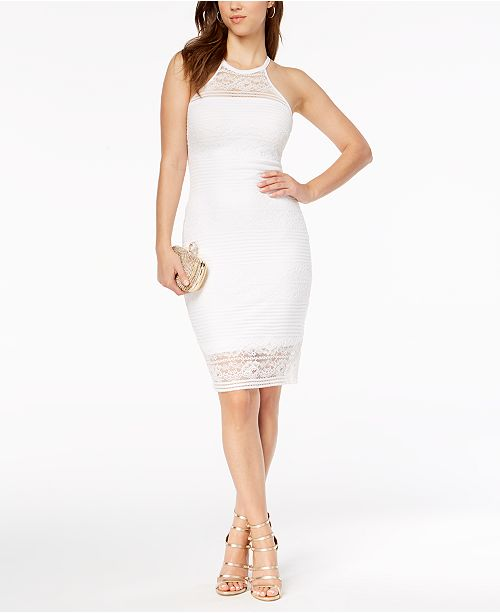e9f02dd208f GUESS Lace Illusion Halter Dress   Reviews - Dresses - Women - Macy s