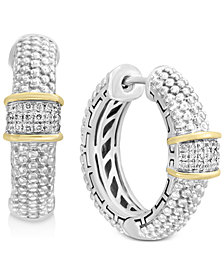 Balissima by EFFY® Diamond Cluster Beaded Hoop Earrings (1/8 ct. t.w.)in Sterling Silver & 18k Gold