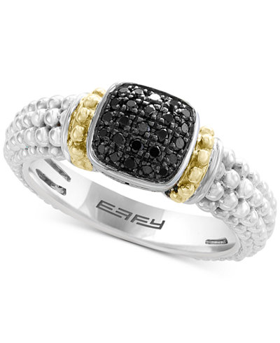 Balissima by EFFY® Diamond Beaded Ring (1/6 ct. t.w.) in Sterling Silver & 18k Gold