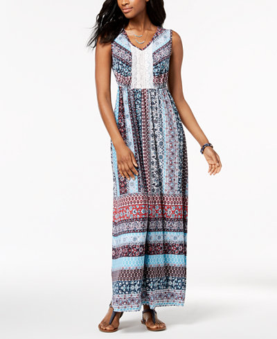 Style & Co Petite Crochet-Panel Maxi Dress, Created for Macy's