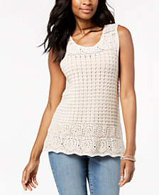 Style & Co Sleeveless Crochet Top, Created for Macy's