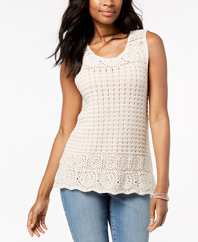 Style & Co Petite Crocheted Tank Top, Created for Macy's