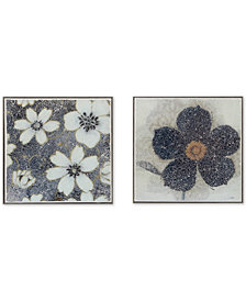 Harbor House Mosaic Florals 2-Pc. Crushed Glass Wall Art Set