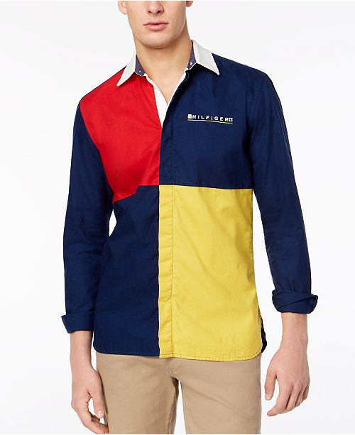 Tommy Hilfiger Men's Big & Tall Andrew Pieced Custom-Fit Oxford Shirt
