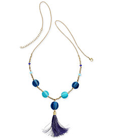 "I.N.C. Gold-Tone Bead & Wrapped Ball Long Tassel Necklace, 34"" + 3"" extender, Created for Macy's"
