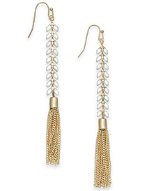 I.N.C. Gold-Tone Stone & Chain Tassel Linear Drop Earrings, Created for Macy's