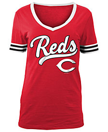 5th & Ocean Women's Cincinnati Reds Retro V-Neck T-Shirt
