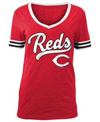 5th & Ocean Women's Cincinnati Reds Retro V-Neck T-Shirt
