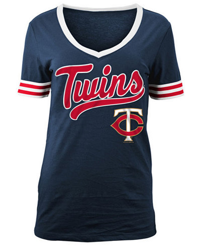 5th & Ocean Women's Minnesota Twins Retro V-Neck T-Shirt