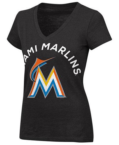 G-III Sports Women's Miami Marlins Classic Logo V-Neck T-Shirt