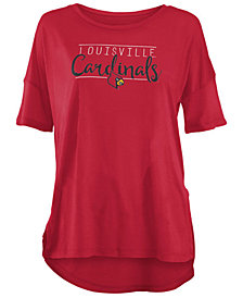 Royce Apparel Inc Women's Louisville Cardinals Hip Script Modal Crew T-Shirt