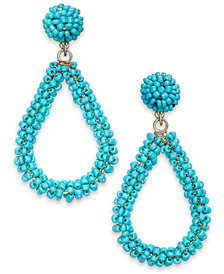 I.N.C. Gold-Tone Beaded Teardrop Drop Earrings, Created for Macy's