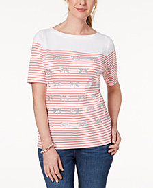 Karen Scott Embellished Striped T-Shirt, Created for Macy's