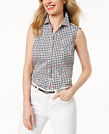 Charter Club Petite Floral-Print Gingham Sleeveless Shirt, Created for Macy's