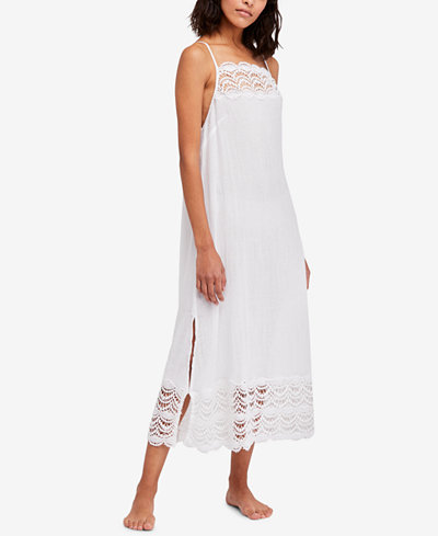 Free People Abbie Cotton Lace-Contrast Maxi Dress